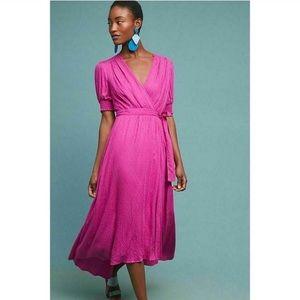 Anthropologie Maeve Breanna Magenta Wrap Dress